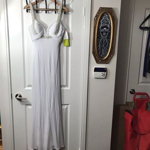 NWT David's Bridal Jewelled White Long Gown